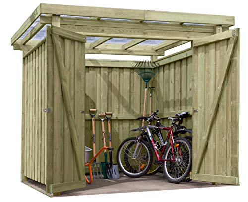 Gartenpirat Gerätehaus Holz mit Flachdach Typ-1 Gartenhaus 254 x 206 cm