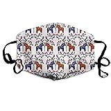 Nicegift Floral Swedish Dala Horses Gesichtsmasken Atmungsaktiv Staubfilter Masken Mundschutz Maske mit elastischer Ohrschlaufe