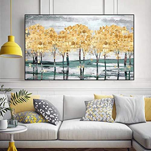 Lienzo sin marco de árbol dorado, pintura al óleo, arte de pared, color burdeos, 100 x 200 cm