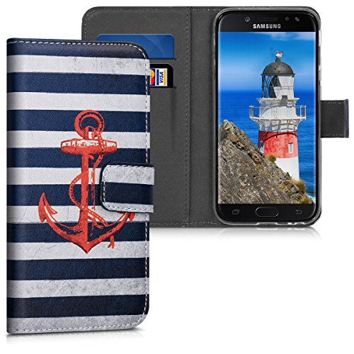 kwmobile Hülle kompatibel mit Samsung Galaxy J3 (2017) DUOS - Kunstleder Wallet Hülle mit Kartenfächern Stand Anker Streifen Vintage Rot Dunkelblau Weiß