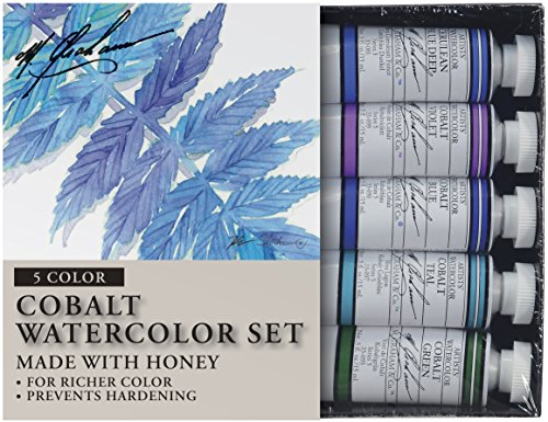 M. Graham Tube Watercolor Paint Cobalt Mix 5-Color Set, 1/2-Ounce