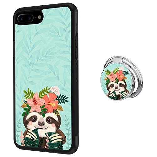 iPhone 7 Plus 8 Plus Case with Holder Ring Cute Sloth Soft Black TPU Rubber and PC Anti-Slip Grip Cover Case, Shockproof Defend Protective Phone Case for iPhone 7 Plus 8 Plus