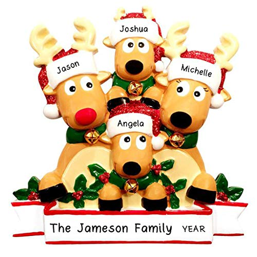 Hobby Home Accessories Personalization Station Personalized Cozy Reindeer Family Christmas Ornament-Free Personalized (Family of 4)