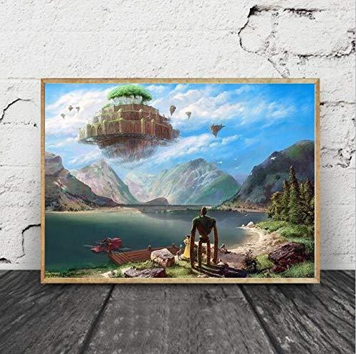 Ayjxtz Puzzle 1000 Piezas Castillo en el Cielo Puzzle 1000 Piezas paisajes Gran Ocio vacacional, Juegos interactivos familiares50x75cm(20x30inch)
