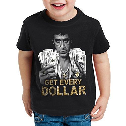 style3 Tony Get Every Dollar T-Shirt per Bambini e Ragazzi Pacino Pablo US Montana Escobar, Dimensione:164