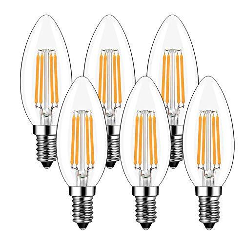 Lampadine LED E14 a Candela, Lampadina Filamento Led E14, 4W equivalenti a 40W, Luce Bianco Caldo 2700K, Non Dimmerabile Pacco da 6