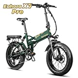 Eahora X7Plus 500W Fat Tire Folding Electric Bike 48V Snow Beach Electric Bikes for Adults Dual Hydraulic Brakes, Full Suspension,...