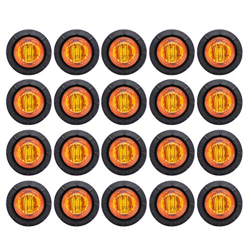 Meerkatt (Pack of 20) 3/4 Inch Mini Round Amber LED Sealed Mini Small Side Marker Clearance Lamp Indicator Light Waterproof Truck Trailer Caravan Bus Boat with rubber grommets 12V DC Universal