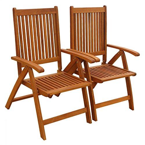 IND-70062-ST Bangor Lot de 2 chaises de Jardin Pliantes en Bois 56 x 71 x 105 cm