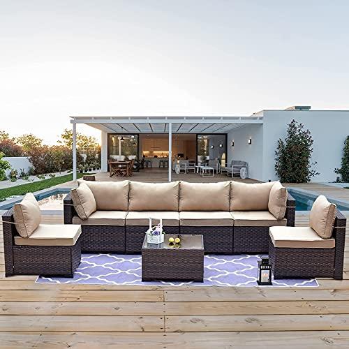 Kullavik Patio Furniture 7 Pieces Outdoor Sectional PE Rattan Sofa Set Brown Manual Wicker Patio...