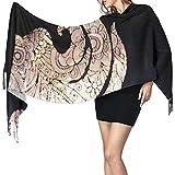 Elaine-Shop Bufanda de cachemira con estampado de sirena negra para mujer Bufanda cálida informal Chal grande