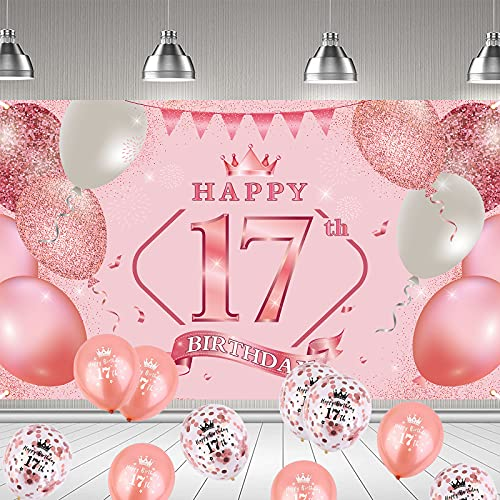 17. Geburtstag Dekoration Rosegold, 17 Geburtstag Party Dekor für Frau Mädchen, Rosa Große Stoff Schild Poster zum Jahrestag Hintergrund Banner 17. Geburtstag Party Lieferunge