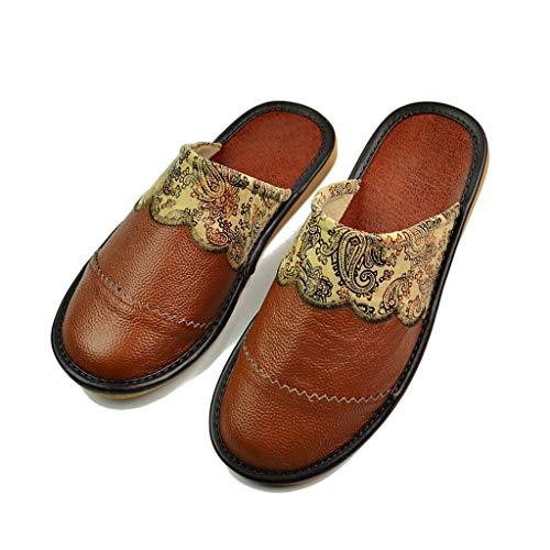 AYDQC Zapatillas de Cuero de Vaca Pareja Interior Antideslizante Hombres Mujeres casa Moda Casual Zapatos Individuales Suela Suave Primavera Verano (Color : Brown, Size : 43)