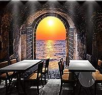 Wkxzz 壁の背景装飾画 カスタム写真壁紙3Dスペーストンネル日没海景壁画リビングルームダイニングルーム背景壁画壁画-150X120Cm