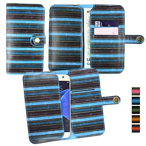 Emartbuy® Blau Vintage Stripes PU Leder Mappen Kasten Abdeckungs Hülsen Halter ( Größe 3XL ) Mit magnetischem Knopfverschluss Geeignet für Motorola Moto G ( 2014 ) / Moto G Dual Sim / Moto G2