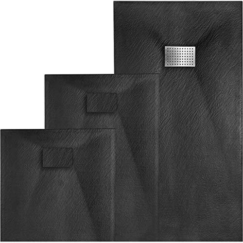 VILSTEIN Duschwanne Steinoptik | Duschtasse flach | Set mit Ablaufgarnitur und Edelstahl Abdeckung | 120x90 cm | Schwarz