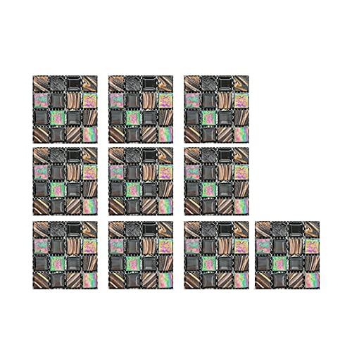 TYUTYU Pegatinas de Pared 10pc Decorativo 3D Autoadhesivo Papel Pintado Paneles de Espuma Decoración para el hogar Sala de Estar Habitación Dormitorio Decoración de la casa Baño (Color : C)