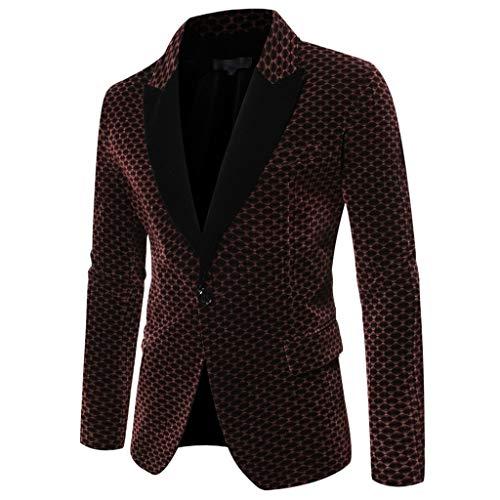 Longra Herren Smokingjacken Casual Anzugjacke für Herren mit einem Knopf Casual Anzug jacken Slim Fit bequem Anzugjacken