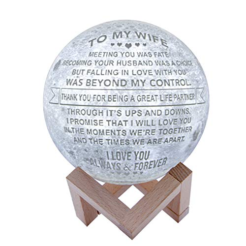 Engraved 3D Moon Lamp for Wife ,Personalized 5.9 Inch 3D Printing Moon Light Gift for Wife Valentine's Christmas Gift (for Wife)