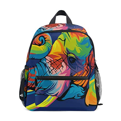 Colorful Elephant Toddler Backpack Bookbag Mini Shoulder Bag for 1-6 Years Travel Boys Girls Kids with Chest Strap Clip Whistle