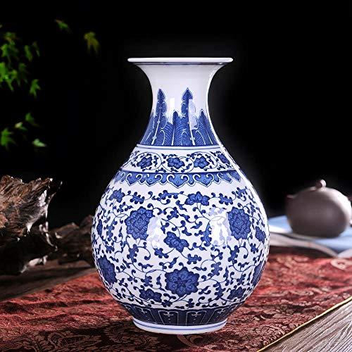 Altura 38cm ufengke Jingdezhen Jarr/ón de Porcelana Azul y Blanco,Florero de drag/ón,Estilo de China Ming,15