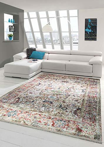 Merinos Orientteppich modern Wohnzimmerteppich Vintage Designteppich mit Fransen Beige Größe 160x230 cm