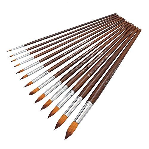 Kcopo Multifunktionales Pinsel Set Holz Nylon Pinsel Artist Paint Brushes Premium Nylon Pinsel für Kunst Malerei Aquarell Gouache Acryl und Öl Aquarell Acryl Ölgemälde usw 12 Stück Braune Farbe
