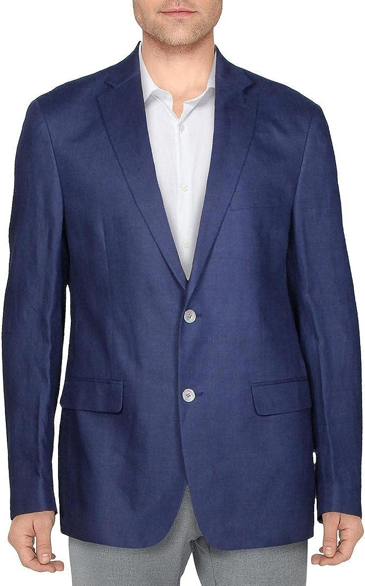 LAUREN RALPH LAUREN Mens Linen Business Two-Button Blazer Blue 42R