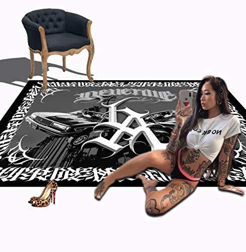 Chicano Tattoo - Alfombra para decoración de pared, diseño de gángster, estilo hip hop, color negro, 50 x 80 cm