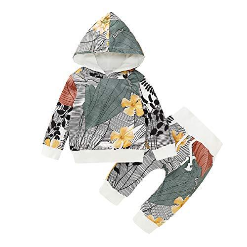 puseky bébés garçons Filles Feuilles Tenues à Capuche Fleurs Tenues Chemise à Manches Longues + Pantalons vêtements Ensemble