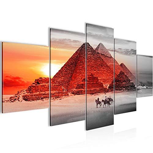 Runa Art - Cuadro Egipto Pirámides 200 x 100 cm 5 Piezas XXL Decoracion de Pared Diseño Rojo 601851a