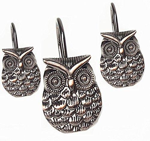 Owl Bronze Shower Curtain Hooks Rings Hooks Easy Glide Stainless Steel Shower Curtain Rings Hooks 12 Count