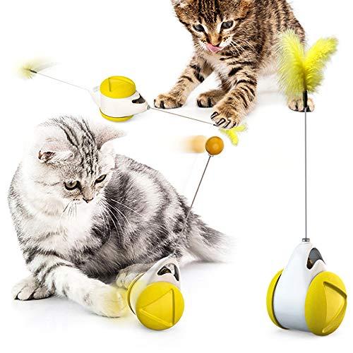 OVAREO Katzenspielzeug, Interaktives Spielzeug für Katzen, Federspielzeug, Katzenspielzeug Interaktives Beschaftigung & Ausbildung Innen Tumbler Drehbarem Bälle & Federn.