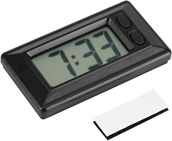 MAGT Portable LCD Digital Clock Car Dashboard Desk Electronic Clock Date Time Calendar Display Dashboard With Adhesive Pad Backlit Screen