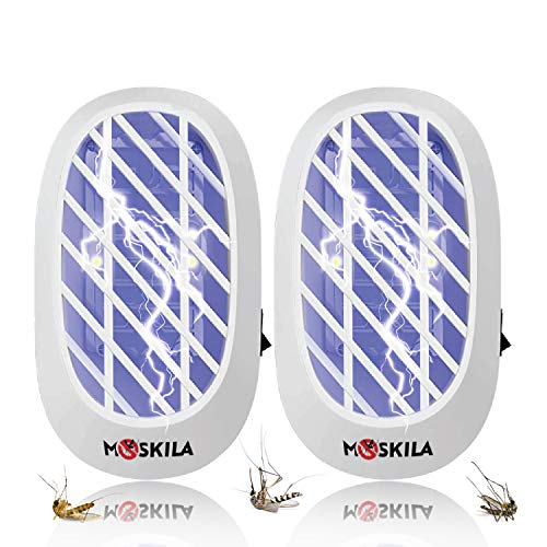 MOSKILA Bug Zapper - Indoor Insect Trap for Mosquitoes, Fruit Flies and Flying Gnats- Insect Killer Eliminates Flying Pests with Blue Light Eco-Friendly 2 Packs Plug-in Electric Insect (White)
