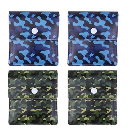 KESYOO 4-Teilige Tasche Aschenbecher Tasche Tasche Aschenbecher mit Deckel Feuerfeste PVC Geruchsfrei für Reisen im Freien Raucher Aschenbecher Behälter (Blau + Grün)