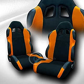 UNIVERSAL JDM-TS BLACK/ORANGE CLOTH CAR RACING BUCKET SEATS+SLIDERS PAIR FOR JAP