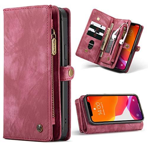 SWP Funda para iPhone 12 Pro Max 5G, funda tipo cartera con tapa magnética desmontable [10 ranuras para tarjetas] cartera de embrague con bolsillo de dinero funda a prueba de golpes(rojo)