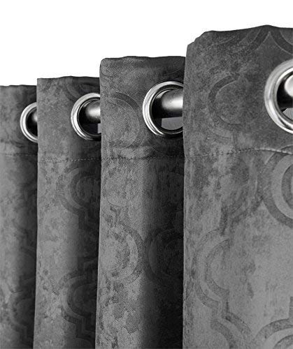 HLC.ME Redmont Lattice Extra Wide-Width Thermal Insulated Energy Efficient Room Darkening Blackout Grommet Patio Door Curtain Panel for Sliding Doors (108 x 99 inches Long, Dark Grey)