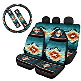 FKELYI Car Front Seat Covers Bucket Saddle Blanket with Rear Bench Cover,Aztec Tribal Design Geometry Steering Wheel Cover&Seat Belt Pads,All 6 Packs