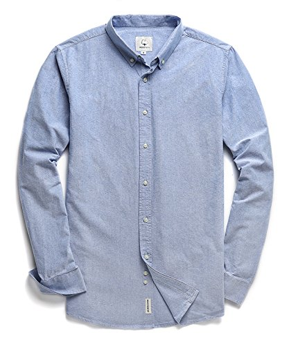 Men's Oxford Long Sleeve Button Down Casual Dress Shirt,Sapphire,Large