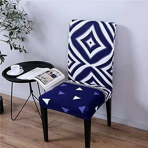 JRLTYU Fundas de sillas Patrón geométrico Azul Negro Blanco Fundas de Sillas Comedor Elásticas Spandex para Boda,Hogar,Restaurante,Hotel Fundas Protectoras para Sillas Juego de 4 Piezas