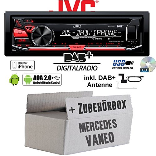 JVC KD-DB67 - DAB+ USB Autoradio inkl. DAB+ Digitalradio Antenne - Einbauset für Mercedes Vaneo W414 - JUST SOUND best choice for caraudio