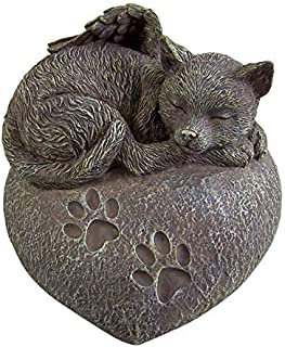 Cat Ashes Urn - Heart Shaped Sleeping Angel Cat Memorial Urn