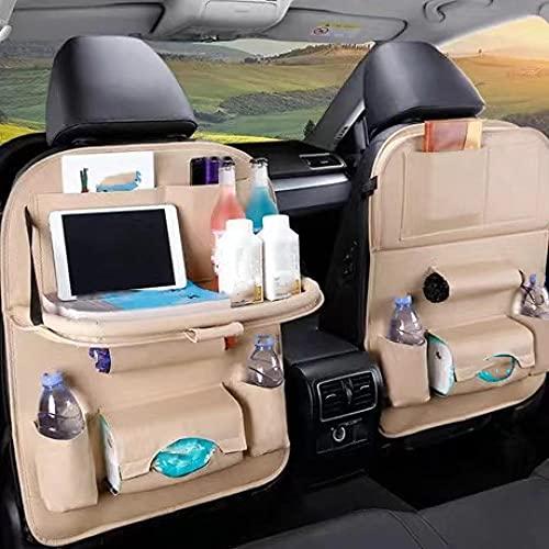Bolsa de almacenamiento organizadora del asiento trasero del automóvil con bandeja de mesa plegable Caja de pañuelos Accesorios del protector del bolso-Beige_con_tabla