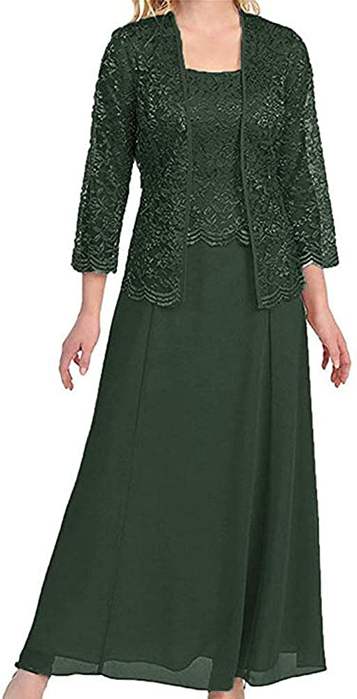 Stylefun Women's Lace Mother of The Bride Dresses with Jacket 3/4 Sleeve Chiffon Long Formal Dresses Evening Gowns