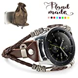 Marval.P Compatible [Samsung Galaxy Watch 46mm] Bands, 22mm Universal Samsung Gear S3 Bands, Handmade Leather Replacement Bracelet Strap, Wristbands Adjustable Band ZenWatch 2 1.64' Fossil Q