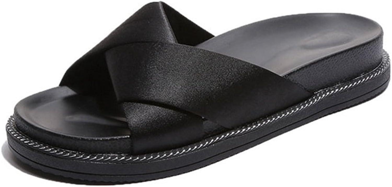GIY Women's Open Toe Crisscross Strap Footbed Platform Slide Sandals Slip-On Flat Slide Sandal