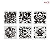 Junlinto, 6pcs / Set Mandala Stencil Wall Painting DIY Drawing Template Ruler for Floor Tile