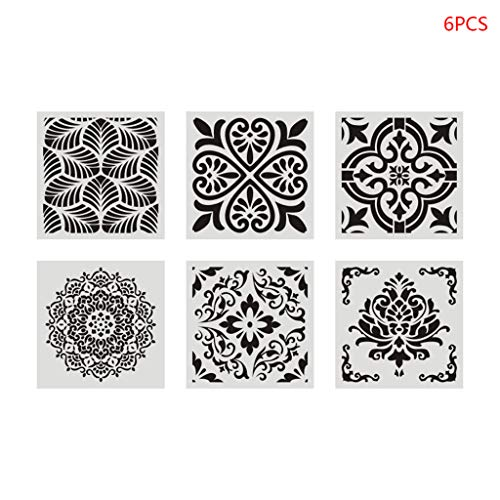 6 Stück/Set Mandala-Schablone Wandmalerei DIY Zeichnungs-Vorlage Lineal für Bodenfliesen Möbel Schule Student Supplies